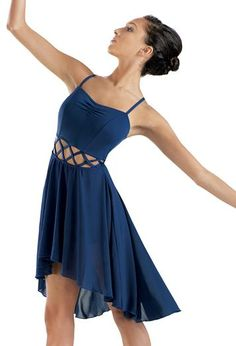 A ballet and contemporary costume!It crisscrossing in the middle and a high low skirt!This would be a awesome dance costume! Cute Dance Costumes, Dance Costumes Lyrical, Lyrical Dance, Ballet Costumes, Dance Leotards, Ballet Dance, Halloween Costumes, Party Costumes, Tango Dance