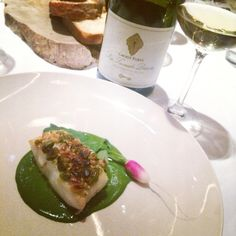 "Ottolenghi (and Scully) cooked for us at Rijks, the restaurant of the Rijksmuseum in Amsterdam!  Halibut - crust of pistachio and pine nuts - vichyssoise of rocket salad and lovage.  Wine match: Groot Parys ""Die Tweede Droom"" chenin blanc 'vatgegis' from Paarl / Sourh Africa.  Great dish. Beautiful wine.  #ottolenghi #yotam #yotamottolenghi #scully #ramaelscully #rijks #rijksrestaurant @ottolenghi @scully_chef @rijksrestaurant #grootparys @grootparys #cheninblanc"