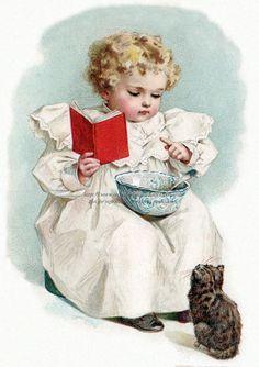 Kitten Fabric Block - Girl Teaches Cat to Read - Maud Humphrey