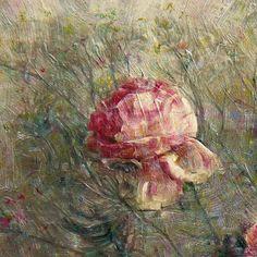 Detalle de Bodegón de rosas. Óleo sobre tabla de 61 x 61 cm. 2400 €.