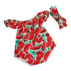 vestidos nina fiesta Switchali Recién nacido Bebé Niña verano Ropa sandía mono moda sin tirantes Mameluco Traje de baño casual playa + bowknot venda jumpsuit para ninas baratos (70 (0~6meses))