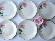 Vintage Pink Rose Bread and Butter Plates Set of Six by jenscloset