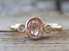 Oval Champagne Peach Sapphire Diamond Engagement Bezel Ring in 14K Rose Gold