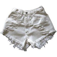 Vintage, cut off,  jeans,  shredded,  damaged,  fray,  grunge, omen eye, short, shorts, white $39.99