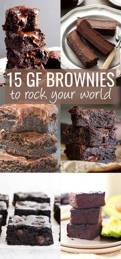 15 Gluten Free Brownies To Rock Your World. Whether your favorite type of rich chocolate brownie is fudgy or cakey, healthy or just plain decadent, it's right here, in these 15 recipes to rock your world. http://glutenfreeonashoestring.com/