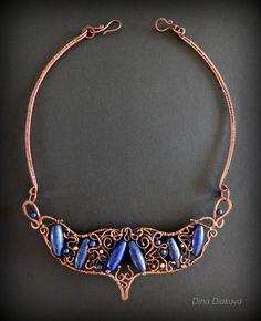 Купить Elza - тёмно-синий, колье, авторская ручная работа, авторские украшения, медные украшения