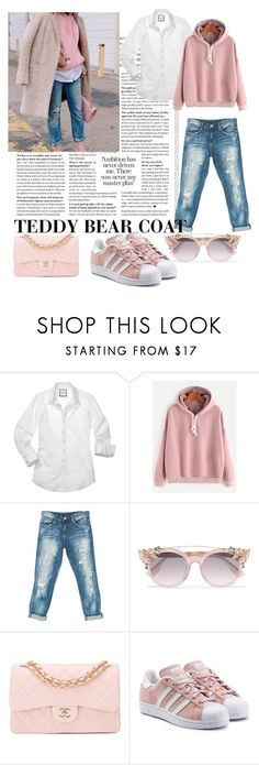 """""""Teddy bear coats"""" by warwickbrowng ❤ liked on Polyvore featuring Sans Souci, Jimmy Choo, Chanel and adidas Originals"""