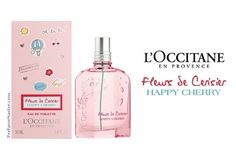 Perfume and fragrance release news, LOccitane Fleurs de Cerisier Happy Cherry Perfume! Perfume Display, Occitane En Provence, Hermes Perfume, Cologne, Body Care, Cherry, Perfume Bottles, Fragrance, News