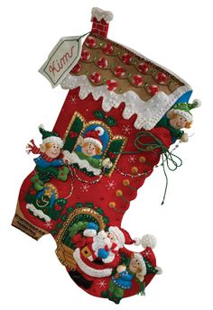 Bucilla Christmas Stocking Felt Applique Kit 86146 Holiday Decorating *** Check this awesome product by going to the link at the image. Christmas Stocking Decorations, Christmas Stocking Kits, Felt Christmas Stockings, Felt Christmas Ornaments, Noel Christmas, Christmas Crafts, Felt Stocking Kit, 242, Felt Applique