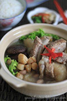 GoodyFoodies: Recipe: Chinese pork ribs stew with fish maw, mushroom, and dried scallops