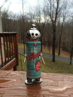 "metal artwork, metal sculptures, robot sculptures, robots, robot, found object sculpture, metal robot, bots ""Slade"""