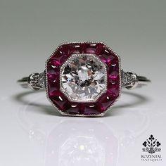 http://rubies.work/0364-sapphire-ring/ Antique Art Deco Platinum Diamond & 1.80ctw Ruby Ring