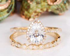HANDMADE RINGS & BRIDAL SETS by MoissaniteRings on Etsy Bridal Ring Sets, Handmade Rings, Topaz, Gold Rings, Etsy Seller, Rose Gold, Engagement Rings, Crystals, Diamond