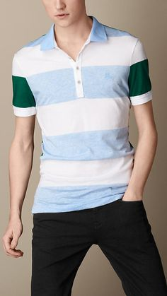 Burberry Brit Contrast Stripe Polo Shirt