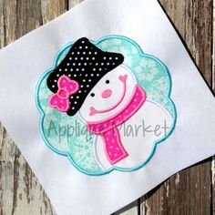 Applique Market has a wonderful selection for all of your Christmas custom design needs. Create a festive holiday outfit with this snowgirl scallop applique design for the special person in your life.