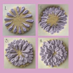 Cookies with Character: Zinnia Flower Cookies: OPTION 1: Looped ...