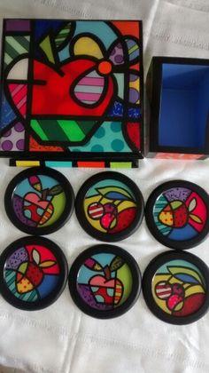 MÍ TRABAJO 💝 LUZ STELLA HERRERA Arte Country, Arte Pop, Oil On Canvas, Folk Art, Decoupage, Coasters, Painting, Vintage, Design