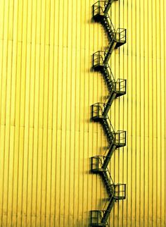 yellow wall and fire escape stairs Minimal Photography, Abstract Photography, Urban Photography, Photography Blogs, Industrial Photography, Iphone Photography, Color Photography, Landscape Photography, Mellow Yellow
