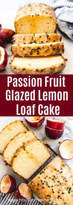 Passion Fruit Lemon Loaf Cake is a moist with wonderful citrus flavor and a delicious twist thanks to the passion fruit glaze drizzled over the top. Fruit Cake Loaf, Lemon Loaf Cake, Fruit Bread, Köstliche Desserts, Delicious Desserts, Brunch Recipes, Breakfast Recipes, Recipes Dinner, Passion Fruit Cake