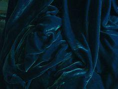 SILK VELVET fabric 28 percent silk 72 percent rayon - OCEAN dk teal blue - fiber arts, art to wear, collage, crazy quilt doll clothes via Etsy