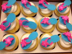 Flip Flop cupcakes perfect for little girl's pool party birthday!
