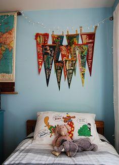 A boy's room....pennants are cute idea