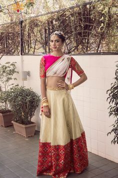 bandhani print edging , crop top lehenga , draped dupatta , elbow length , crop top ,bangles ,