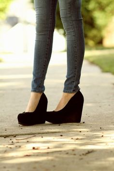 girl, jeans, pumps, shoes, wedges
