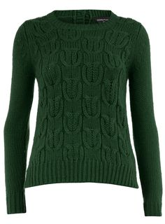Green chunky knot cable jumper