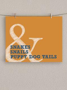 Baby Boy Nursery Art Print - Snakes & Snails and Puppy Dog Tails -  Orange, 8x10. $18.00, via Etsy.
