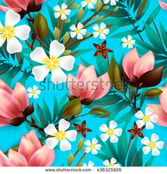 Seamless floral pattern with tropical flowers.Lilly, calla and alstroemeria seamless pattern. - stock vector