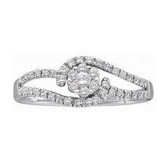 1/4 Carat Diamond 14K White Gold Flower Cluster Promise Ring