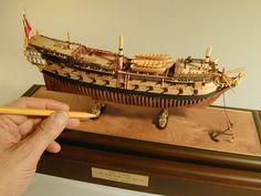 "Gus Agustin Ship Models | miniature scratch ship models | NRG - HMS Leopard 1790 - 1:192 scale - Scratch - 10 3/4"" long and 3 3/8"" high"