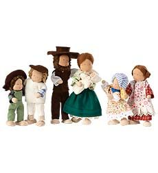 The Pioneer Dollhouse Family is authentically dressed in country cottons by the Kathe Kruse® Doll Company of Germany. Each little doll is hand-crafted with a flexible body and large wooden feet - they stand up!