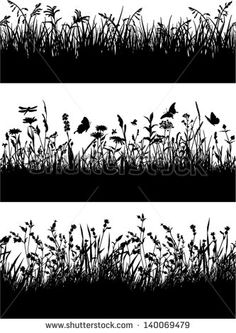Seamless vector border of grass and flowers silhouette