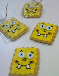 Bob esponja !!! Galletas Cookies, Sugar Cookies, Sponge Bob, Biscuit Cookies, Spongebob Squarepants, Decorated Cookies, Doge, Cookie Decorating, Biscuits