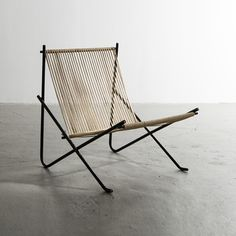 """Lounge Chair (aka the """"Holscher"""" chair), Welded tubular steel frame built by the blacksmith Svend Holscher. The halyard seat wrapped by Poul and Hanne Kjaerholm- Chair Design Wooden, Lounge Chair Design, Modern Furniture, Furniture Design, Outdoor Furniture, Lounge Furniture, Wicker Furniture, Cheap Furniture, Luxury Furniture"""