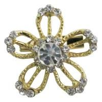 Dazzling Appealing Golden Flower Clear Rhinestones Gold Plated Brooch