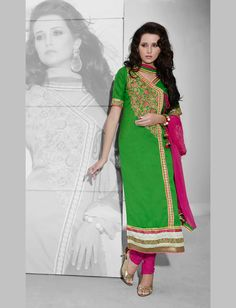 Green Cotton Churidar Suit 70097