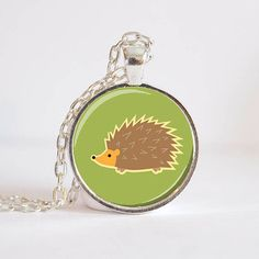Hedgehog Pendant  Green Hedgehog Green Charm by 30SomethingDesign