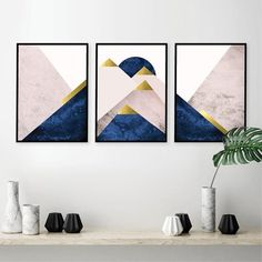 Scandinavian style set of 3 Mountain triptych prints in blush pink grey and gold Scandi minimalist mountain poster set Pink bedroom wall art Wall Art Sets, Framed Wall Art, Wall Art Decor, Wall Art Prints, Art Deco Wall Art, Big Wall Art, Gold Wall Art, Clock Wall, Marine Gold
