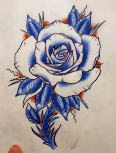 Old School Rose Tattoo Stencils | Blue Rose Tattoo Design with Stem | Best Tattoo Designs