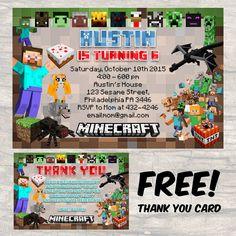 Digital Birthday Invitation Game Film Series Kids Wish - Minecraft birthday invitation maker