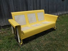 Metal Porch Glider Lawn Furniture Yellow and White Original Finish <Local Pick Up Only> Retro Porch Patio Outdoor Seating Deck Basketweave Vintage Metal Glider, Vintage Patio, Outdoor Seating, Outdoor Sofa, Outdoor Decor, Lawn Furniture, Outdoor Furniture, Porch Glider, Restaurant Tables And Chairs