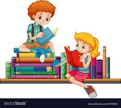 Boy and girl reading books together Royalty Free Vector Girl Reading Book, Reading Art, Reading Books, Drawing For Kids, Art For Kids, Disney Cinderella Castle, Certificate Background, Frame Border Design, Library Organization
