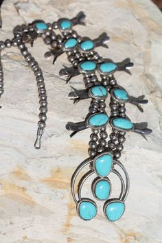 VINTAGE NAVAJO STERLING SILVER CRIPLE CREEK TURQUOISE SQUASH BLOSSOM NECKLACE #NAVAJO  $1195.00 #TURQUOISE