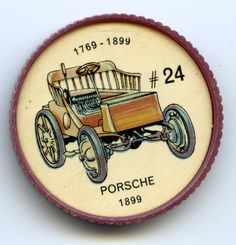 Jello-O Coin 24 - Porsche (1899) - The 1899 Porsche was similar to most German cars manufactured in this period. The rear wheels were larger than the front ones to give greater traction. Designed by Dr. Ferdinand Porsche, now known as the creator of Volkswagen, this early Porsche was electrically powered and gained fame by winning European hill climbing events.