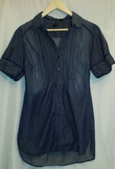 Nine West Vintage Jean Shirt 100% Cotton Short Sleeve~Size Medium #NineWest #Blouse