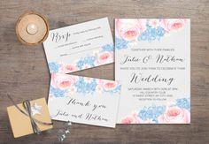 Printable Wedding Invitation Floral Wedding by tranquillina