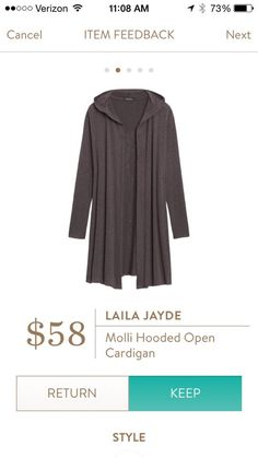 Laila Jayde Molli Hooded Open Cardigan - received this in light grey in my August fix...the only thing i kept